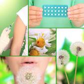 Collage of allergy theme — Stock Photo
