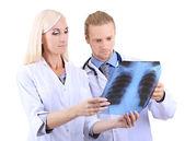 Operai medici isolati su bianco — Foto Stock