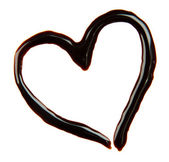 Heart made from chocolate syrup, isolated on white — Stock Photo