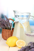 Lavender lemonade, on bright background — Stock Photo