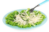 Fork and tasty salad, isolated on white — Stock Photo