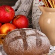 Rye bread on autumn composition background  — Stock Photo