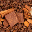 Chopped chocolate with cocoa, spices, on coffee beans background — Stock Photo