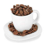 Coffee beans in cup isolated on white — Stock Photo