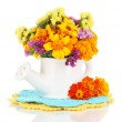 Bouquet of marigold flowers in watering can isolated on white — Stock Photo #31901863