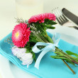 Stock fotografie: Festive dining table setting with flowers isolated on white