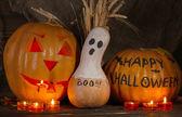 Halloween pumpkins on dark background — Stock Photo