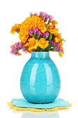 Bouquet of marigold flowers in vase isolated on white — Stock Photo