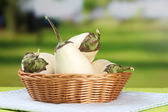 Fresh eggplants in wicker basket on table on bright background — Stock Photo
