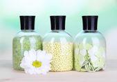 Aromatherapy minerals - colorful bath salt on light background — Stock Photo