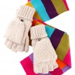 Wool fingerless gloves and multicolor scarf, isolated on white — Stock Photo