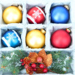Beautiful packaged Christmas balls, close up — Foto de stock #32142715