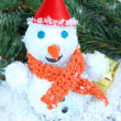 Beautiful snowman on snow — Foto de Stock