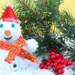 Beautiful snowman and Christmas decor, on golden background — Foto de Stock