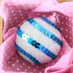 Beautiful packaged Christmas ball, close up — Stock Photo