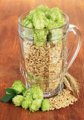Glass of fresh green hops and barley, on wooden background — Stock Photo