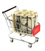 Shopping trolley with dollars, isolated on white — Foto Stock