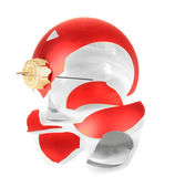 Broken Christmas Toy isolated on white — Stok fotoğraf