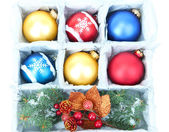 Beautiful packaged Christmas balls, close up — Foto Stock