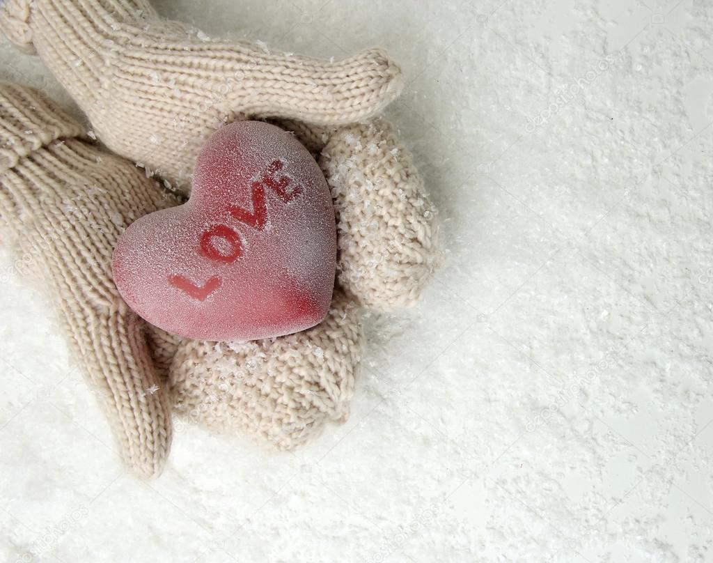 Female hands in mittens with red heart, close-up   Stock Photo ? belchonock #...
