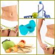 Collage about sport, dieting and healthy eating — Stock Photo
