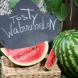 Ripe watermelon on grass near fence — Stock Photo #32213891