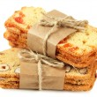 Stock Photo: Biscotti with nuts and candied fruits, isolated on white