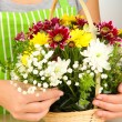Stock Photo: Florist makes flowers bouquet in wicker basket