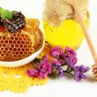 Sweet honeycombs in bowl and bank with honey on wooden table close-up — Stock Photo