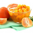 Stock Photo: Orange jam with zest and tangerines, isolated on white