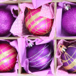 Beautiful packaged Christmas balls, close up — Stock Photo #32217193