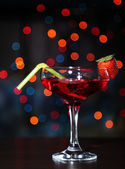 Tasty strawberry cocktail on bright background — Stock Photo