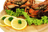 Boiled crabs on wooden board, close-up — Stock Photo