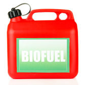 Bio fuels in canister isolated on white — Stock Photo