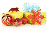 Gifts with christmas decorations, isolated on white — Stock Photo