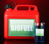 Bio fuels in canister on red background — Stock Photo