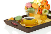 Coffee and macaroons on tray isolated on white — Stock Photo