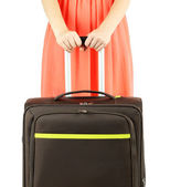Suitcase in hands isolated on white — Stock Photo