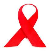 Hiv, Aids üzerinde beyaz izole kırmızı kurdele — Stok fotoğraf