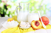 Fresh dairy products with peaches on wooden table on natural background — Stock Photo
