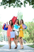 Three beautiful young woman with shopping bags in park — Stockfoto