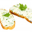 Sandwiches with cottage cheese and greens isolated on white — Stock Photo