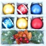 Beautiful packaged Christmas balls, close up — Stock Photo #32332997
