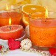Romantic lighted candles close up — Stock fotografie