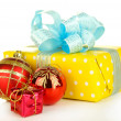 Gift with christmas balls, isolated on white — Stock Photo