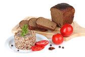 Grano saraceno in lamiera con pane e verdure isolate su bianco — Foto Stock