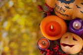 Composition for Halloween with on autumn background close-up — 图库照片