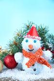 Krásný sněhulák na sněhu — Stock fotografie