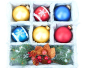 Beautiful packaged Christmas balls, close up — Stok fotoğraf