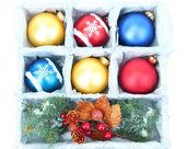 Beautiful packaged Christmas balls, close up — Stock Photo